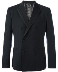 Мужской темно-синий шерстяной двубортный пиджак от Dolce & Gabbana