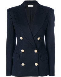 Женский темно-синий шерстяной двубортный пиджак от Faith Connexion