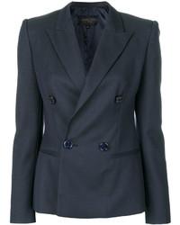 Женский темно-синий шерстяной двубортный пиджак от Giambattista Valli