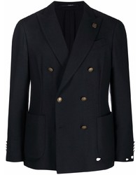 Мужской темно-синий шерстяной двубортный пиджак от Lardini
