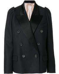 Женский темно-синий шерстяной двубортный пиджак от No.21