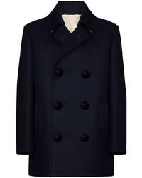 Мужской темно-синий шерстяной двубортный пиджак от Raf Simons