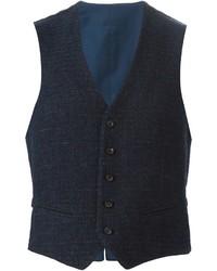 Темно-синий шерстяной жилет