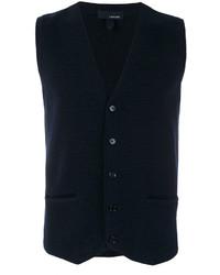 Мужской темно-синий шерстяной жилет от Lardini