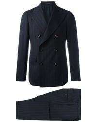 Мужской темно-синий шерстяной костюм в вертикальную полоску от Tagliatore