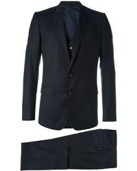 Темно-синий шерстяной костюм-тройка