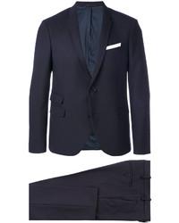 Мужской темно-синий шерстяной костюм от Neil Barrett