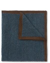 Темно-синий шерстяной нагрудный платок от Brioni