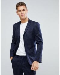 Мужской темно-синий шерстяной пиджак в вертикальную полоску от ASOS DESIGN