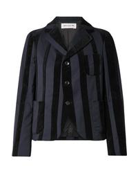 Женский темно-синий шерстяной пиджак в вертикальную полоску от Comme Des Garçons Girl