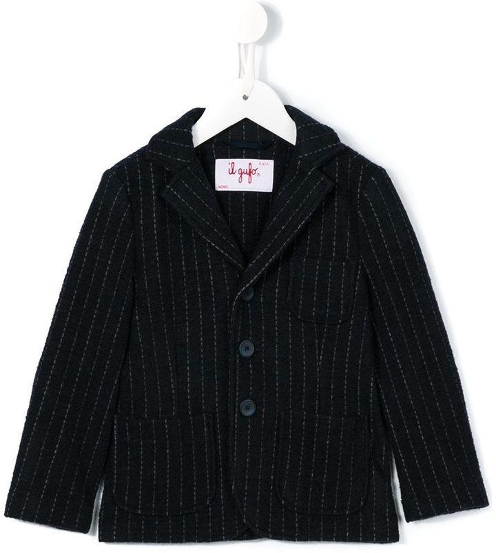 Детский темно-синий шерстяной пиджак в вертикальную полоску для мальчику от Il Gufo