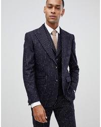 Мужской темно-синий шерстяной пиджак в вертикальную полоску от MOSS BROS