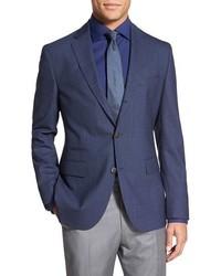 Темно-синий шерстяной пиджак в клетку