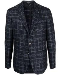 Мужской темно-синий шерстяной пиджак в шотландскую клетку от Tagliatore