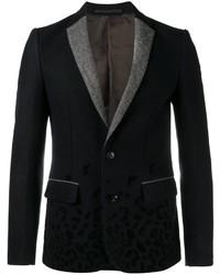 Темно-синий шерстяной пиджак с принтом