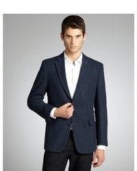 """Темно-синий шерстяной пиджак с узором """"в ёлочку"""""""