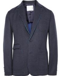 """Темно-синий шерстяной пиджак с узором """"гусиные лапки"""""""