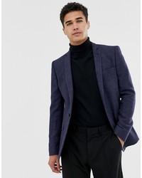 Мужской темно-синий шерстяной пиджак от ASOS DESIGN