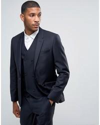 Мужской темно-синий шерстяной пиджак от Asos