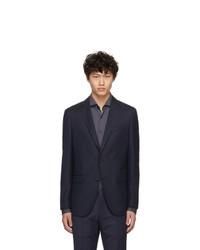 Мужской темно-синий шерстяной пиджак от BOSS