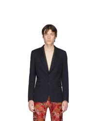 Мужской темно-синий шерстяной пиджак от Dries Van Noten