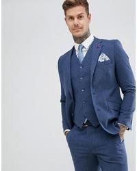 Мужской темно-синий шерстяной пиджак от Gianni Feraud