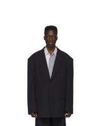 Мужской темно-синий шерстяной пиджак от Juun.J