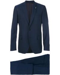 Мужской темно-синий шерстяной пиджак от Lardini