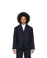 Женский темно-синий шерстяной пиджак от MM6 MAISON MARGIELA