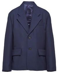 Мужской темно-синий шерстяной пиджак от Prada