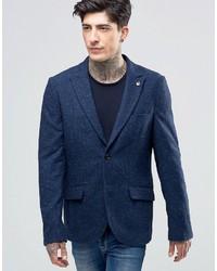 Мужской темно-синий шерстяной пиджак от Scotch & Soda