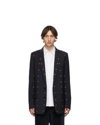 Мужской темно-синий шерстяной пиджак от Tibi