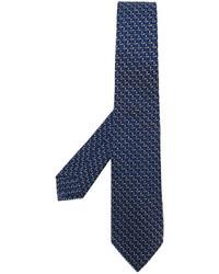 Мужской темно-синий шерстяной плетеный галстук от Kiton