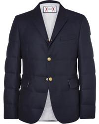 Темно-синий шерстяной стеганый пиджак