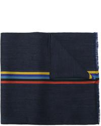 Мужской темно-синий шерстяной шарф в горизонтальную полоску от Paul Smith