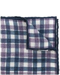 Мужской темно-синий шерстяной шарф в клетку от Eleventy