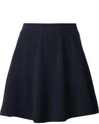 Темно-синяя бархатная короткая юбка-солнце