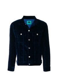 Темно-синяя бархатная куртка-рубашка
