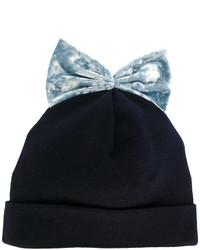 Женская темно-синяя бархатная шапка от Federica Moretti
