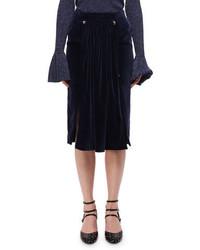 Темно-синяя бархатная юбка-миди