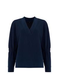Темно-синяя блузка с длинным рукавом