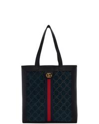 Мужская темно-синяя большая сумка из плотной ткани с вышивкой от Gucci