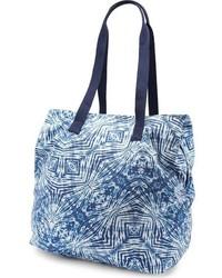 Темно-синяя большая сумка из плотной ткани с принтом