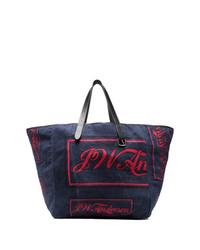 Мужская темно-синяя большая сумка из плотной ткани от JW Anderson