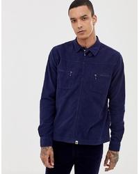 Мужская темно-синяя вельветовая куртка-рубашка от Pretty Green
