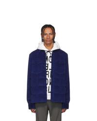 Мужская темно-синяя вельветовая стеганая куртка-рубашка от MONCLER GRENOBLE