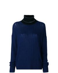 Женская темно-синяя вязаная водолазка от Prada
