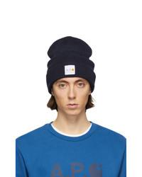 Мужская темно-синяя вязаная шапка от A.P.C.