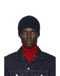 Мужская темно-синяя вязаная шапка от Officine Generale