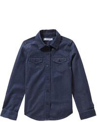 Темно-синяя джинсовая классическая рубашка
